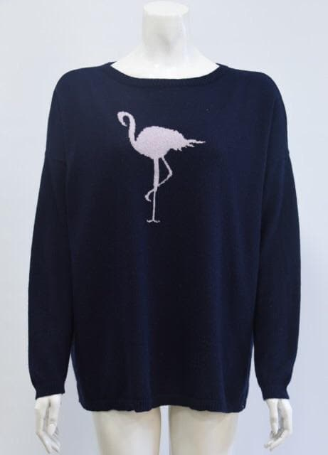 Navy Blue Pink Flamingo Jumper