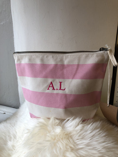 Nautical Stripe Canvas Washbag with personlisation