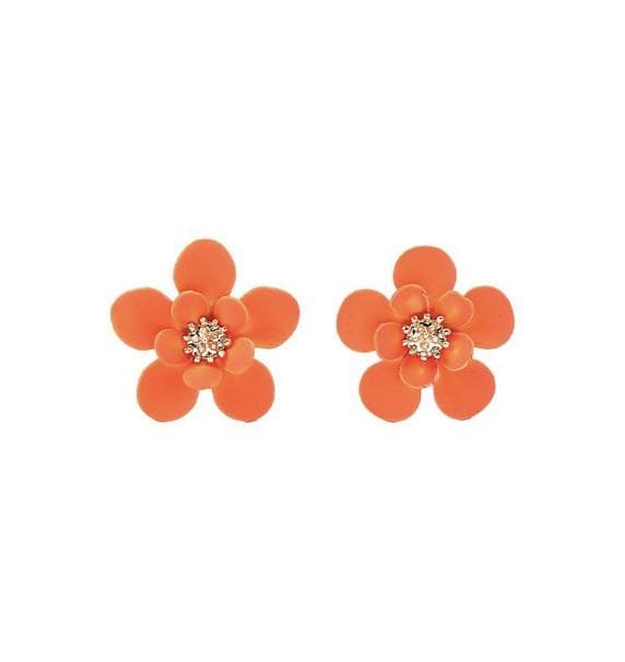 Neon Orange Flower Stud - Aurina Ltd