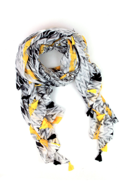 Yellow tasseled monochrome scarf