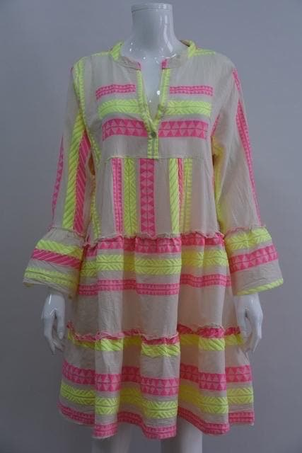 Neon Aztec Summer 21 Dress - Aurina Ltd