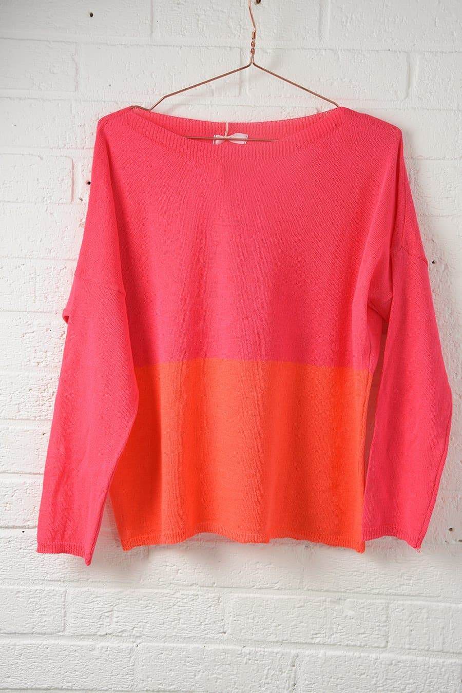 Spring Summer Cotton Jumper Coral and Pink - Aurina Ltd