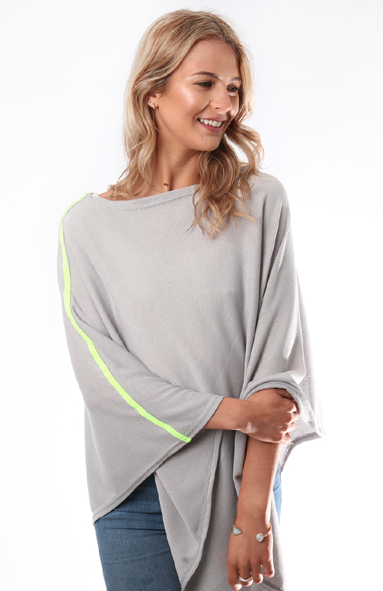 Silver Grey Poncho with Neon Yellow Stripe