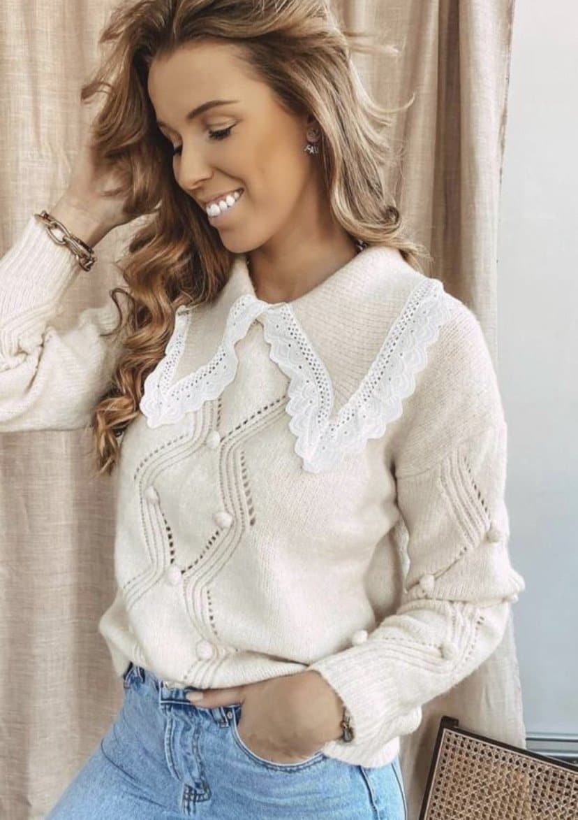 Beige Pom Pom Collar Jumper - Aurina Ltd
