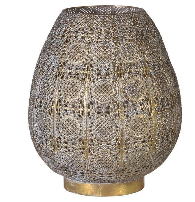 Ornate Morrocan Style Gold Hurrican Lantern - Aurina Ltd