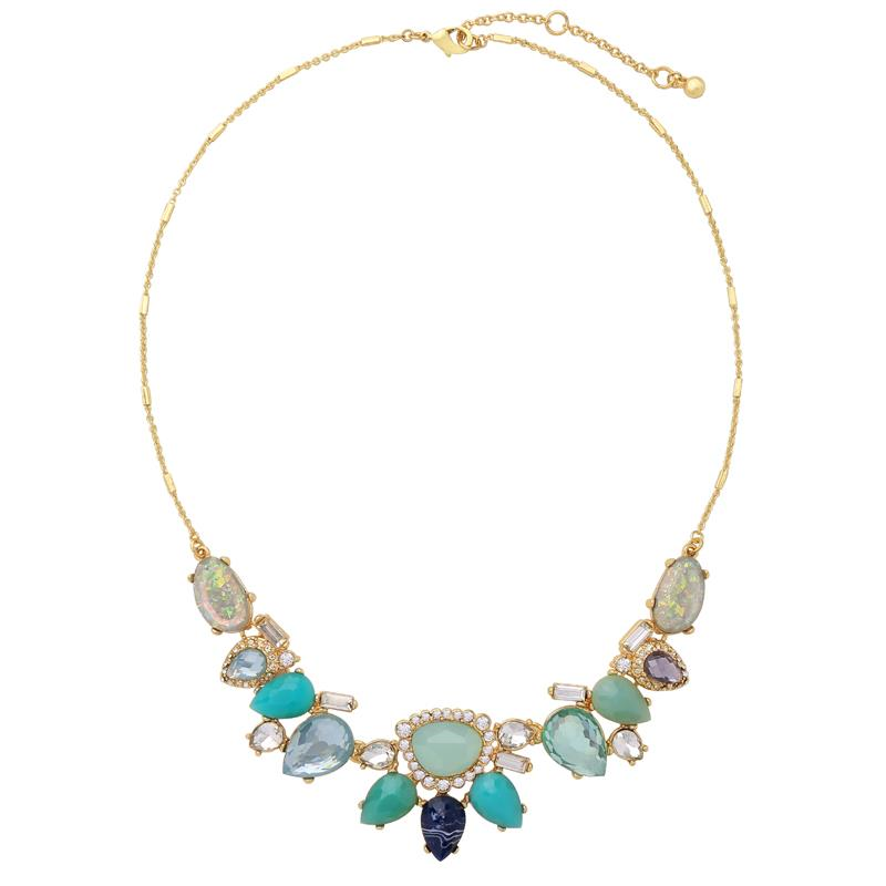 Multi Gem Crystal Necklace Mint - Aurina Ltd