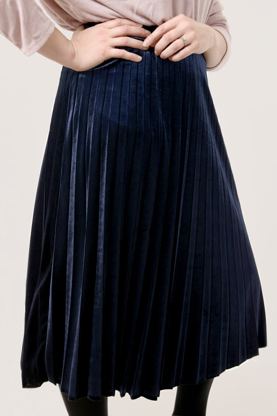 Pleated Velvet Skirt - Aurina Ltd