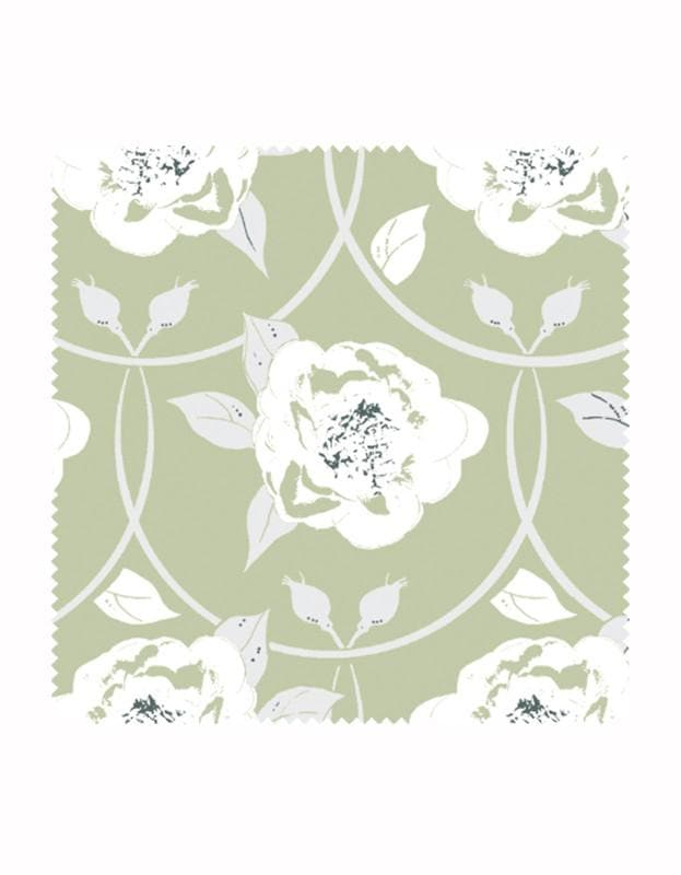Peony Flower Print Fabric in Sage
