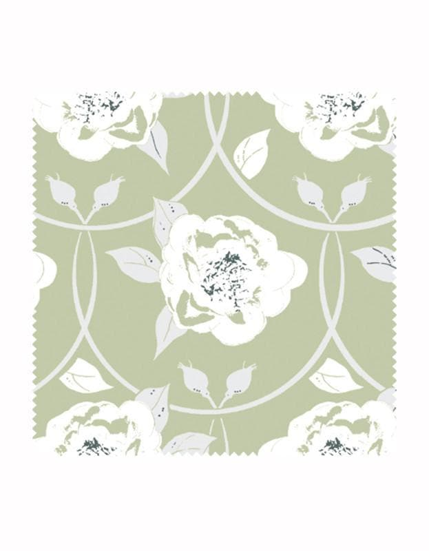 Peony Flower Wallpaper in Sage - Aurina Ltd