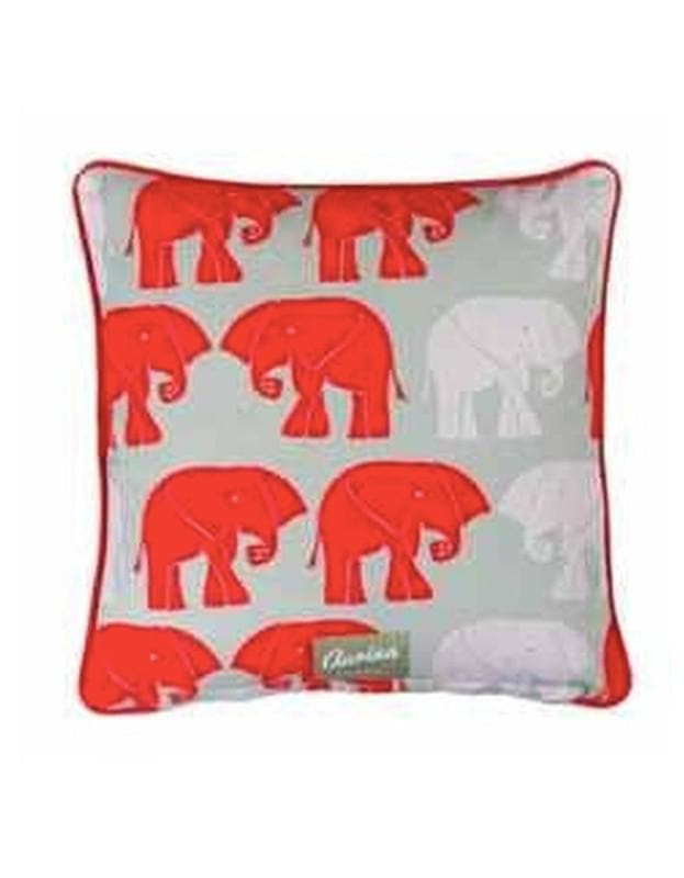Piped Cushion Nellie Sage & Red - Aurina Ltd