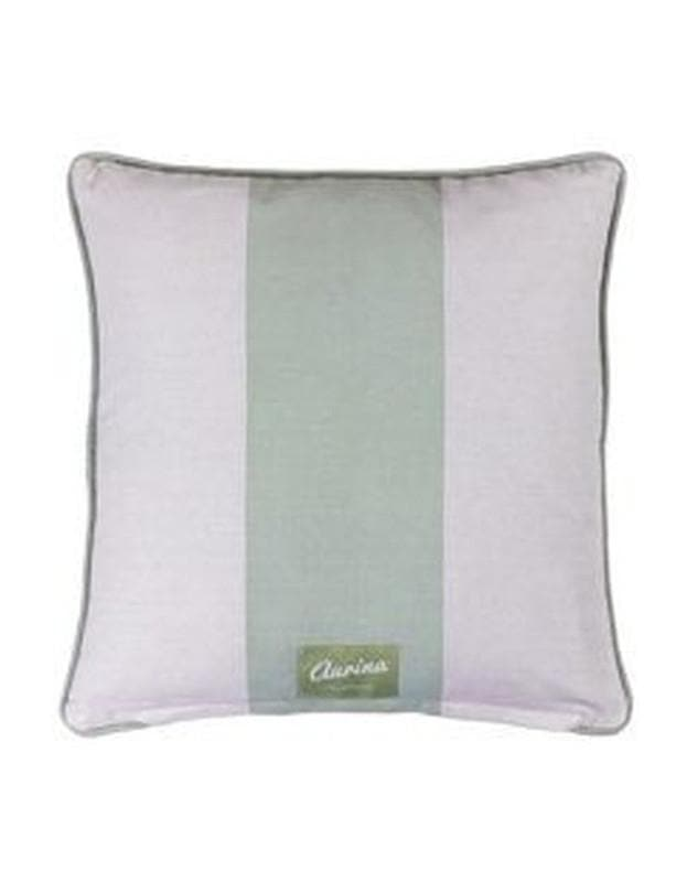 Piped Cushion Wide Stripe -  Duck Egg and Stone - Aurina Ltd