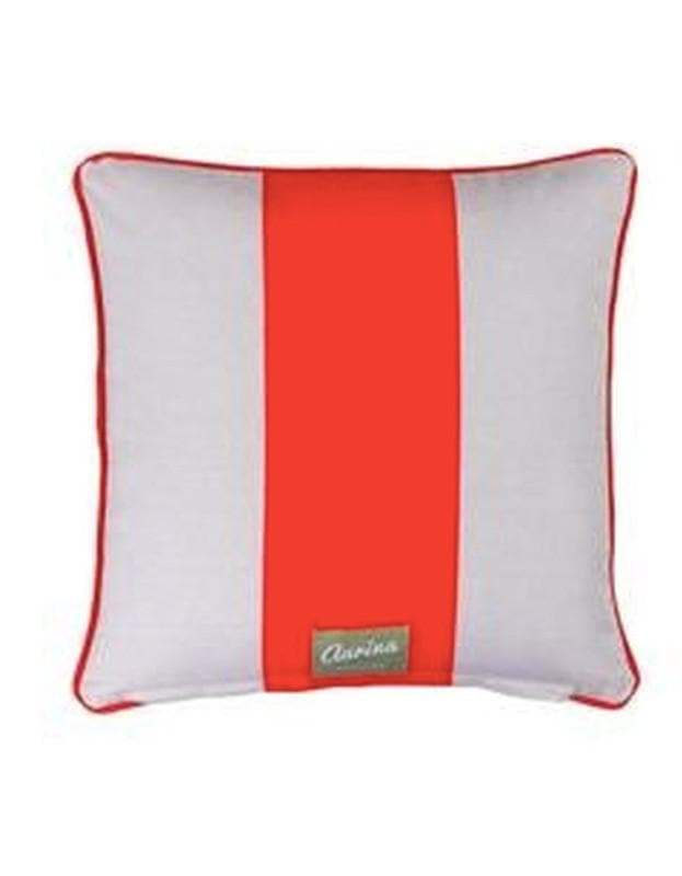 Piped Cushion Wide Stripe - Red & Stone - Aurina Ltd