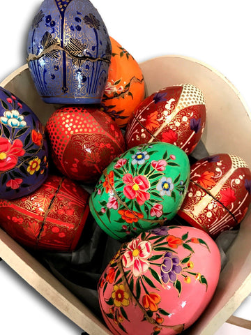 Hand painted paper mache egg