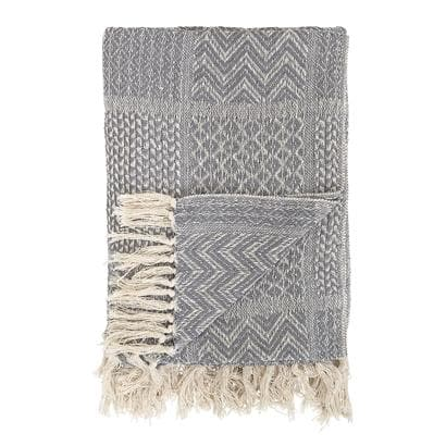 Grey Cotton Throw - Aurina Ltd