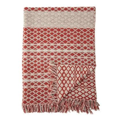 Red Cotton Throw - Aurina Ltd