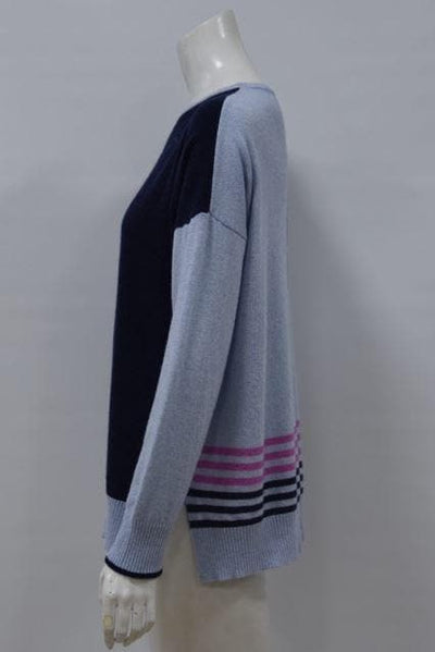Cashmere Blend Crew Blocks and Stripes
