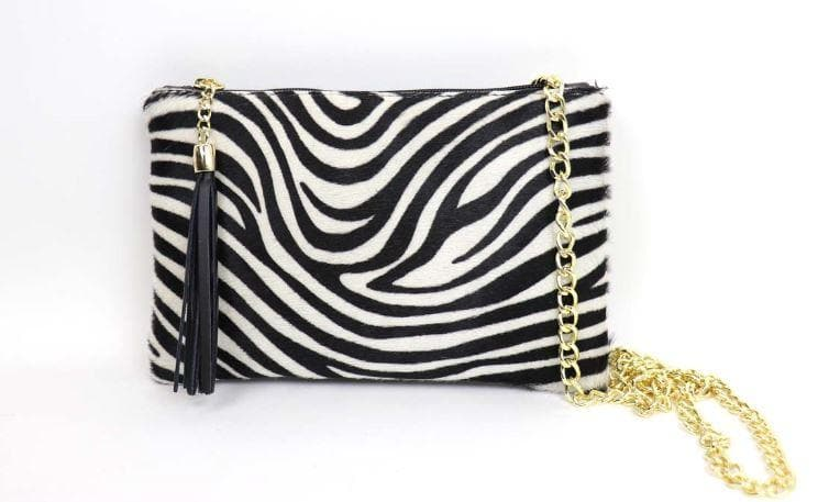 Tasseled Animal Hide Clutch - Aurina Ltd