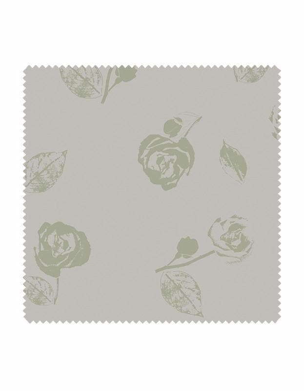 Vintage Rose Wallpaper in Sage & Stone - Aurina Ltd
