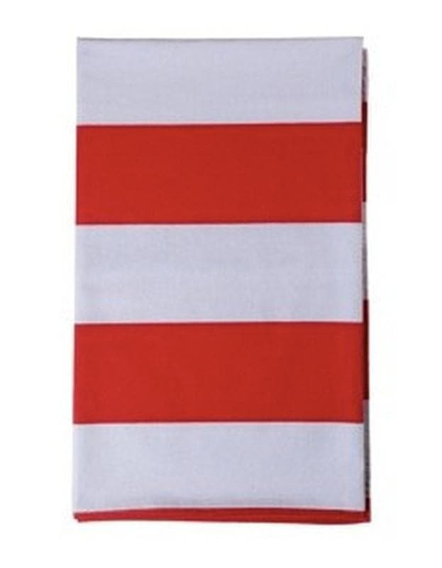 Wide Stripe Large Tablecloth Red & Stone - Aurina Ltd