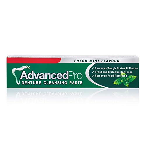 Advanced Pro Denture Cleansing Paste, Fresh Mint Flavour - Removes Tough Stains, freshens and Cleans dentures, removes Food Particles Whilst Also Fighting Odour Causing Bacteria, Plaque, Tartar