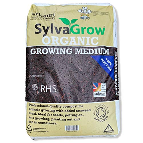 X5 Bags of Melcourt RHS SylvaGrow Organic Compost 50 Litre - Added Seaweed Meal, Ideal for Seeds, Potting On or GrowBag