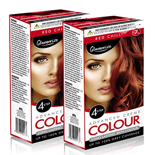 2pk Red Chilli Hair Dye | Easy to Use, Fade Resistant Hair Colour | Includes 2 Colour Creme Gel, 2 Developer Milk, 2 Plastic Gloves and Detailed Instruction Manuals