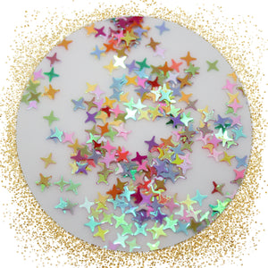 Multicolored 4 Point Star Confetti