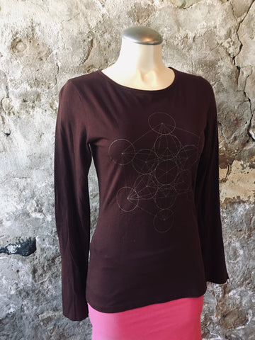 Long sleeve Sacred Geometry gold print infused with REIKI