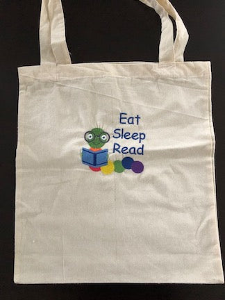 Embroidered lightweight Cotton Canvas Bag - Eat Sleep Read