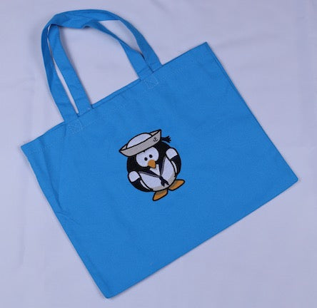 Embroidered Canvas Tote with Sailor Penguin
