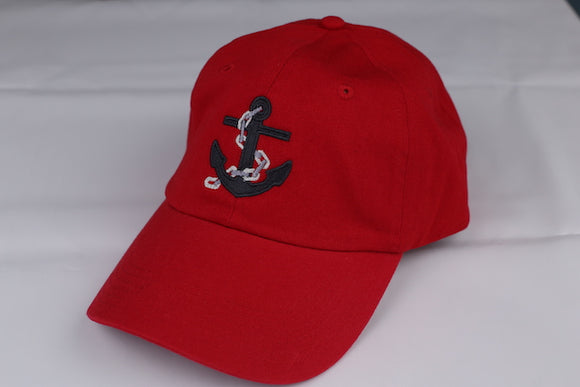 Unstructured Baseball Cap with Embroidered Anchor