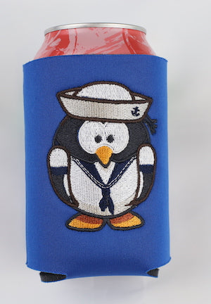 Embroidered Sailor Penguin Can Cooler
