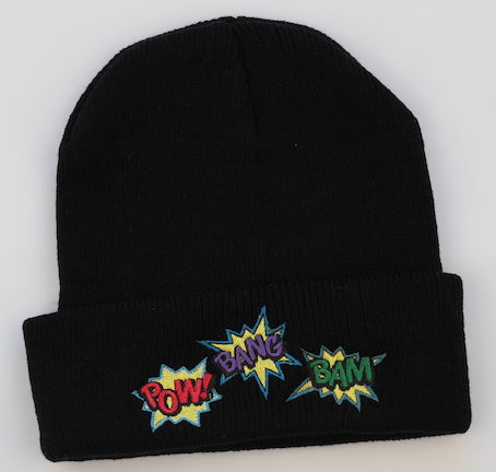 Childs Beanie with Embroidered superhero bursts