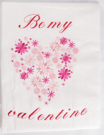 Be my valentine Embroidered Kitchen Towel/Dish Towel/Tea Towel