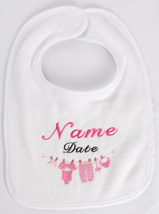 Personalized Baby Bib with Baby Laundry