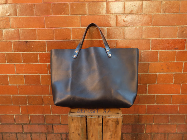 Charlie Borrow Leather Workman Tote in Black