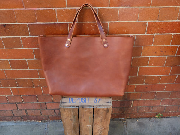 Charlie Borrow Leather Workman Tote in Brown (Made to Order)
