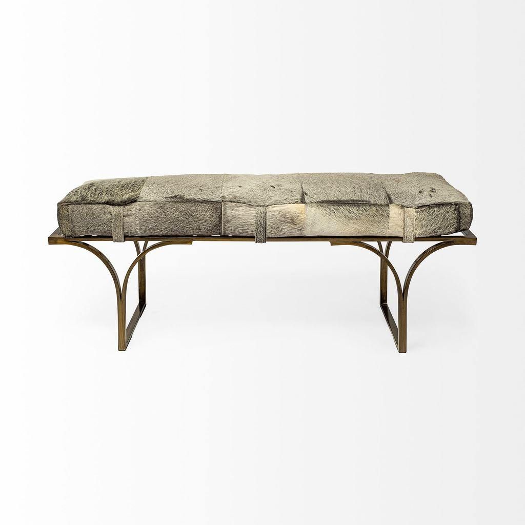 Jessie Hair-on-Hide Bench - The Tin Roof Furniture
