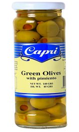 """CAPRI"" GREEN OLIVES STUFFED W/ PIMIENTO 140G"