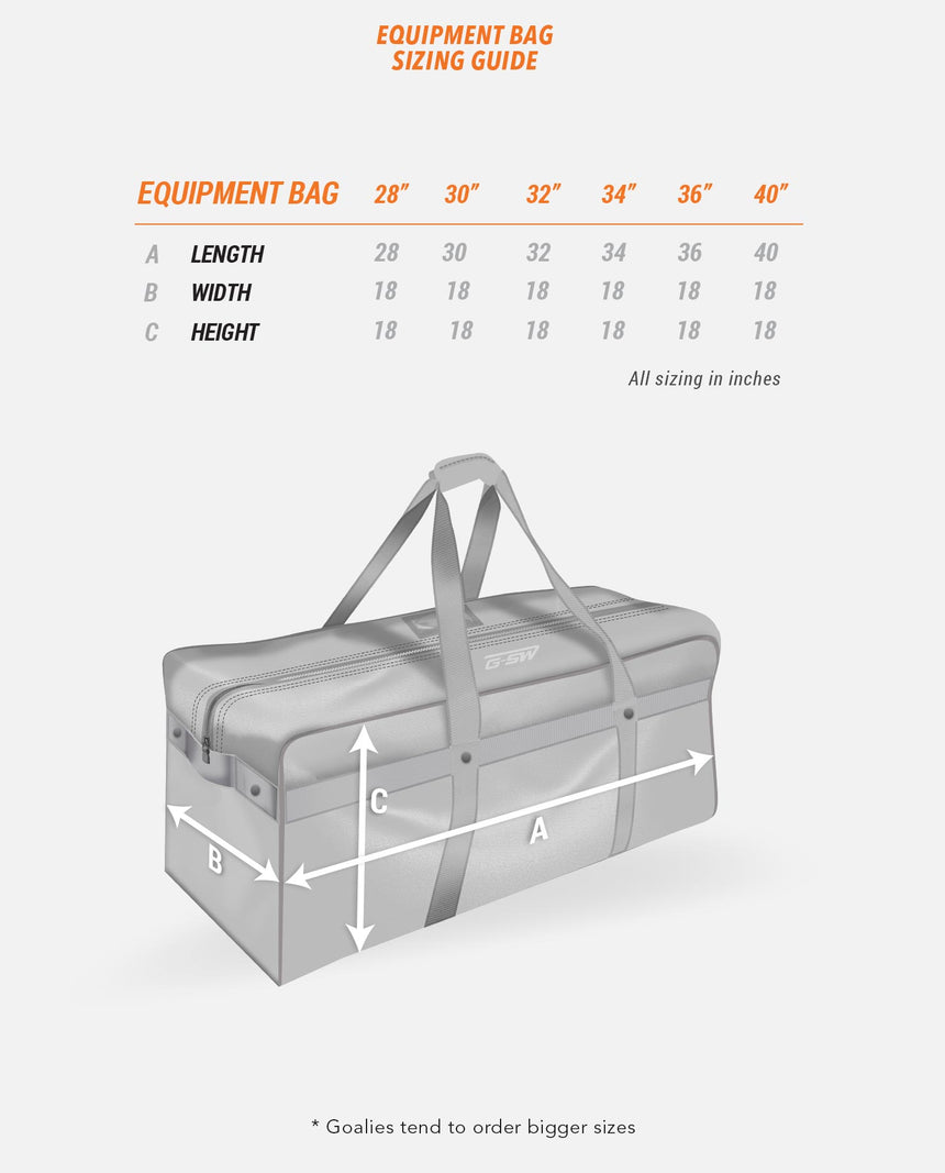 Equipment Bag Sizing Guide