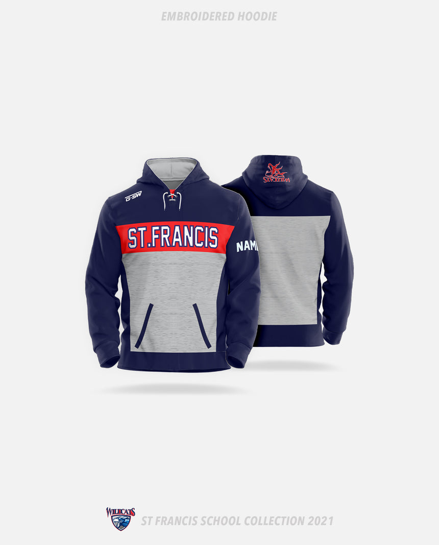 St. Francis Wildcats Embroidered Hoodie - GSW Team Collection 2020-2021