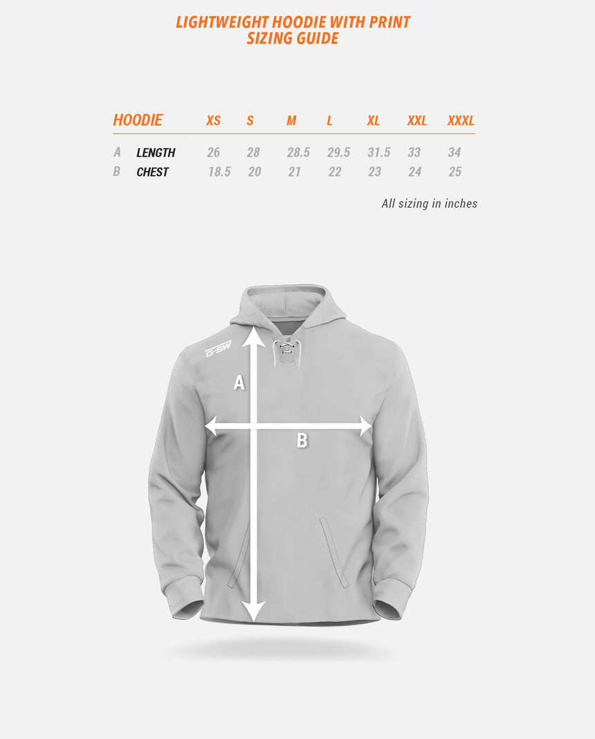 Lightweight Hoodie With Print Sizing Guide