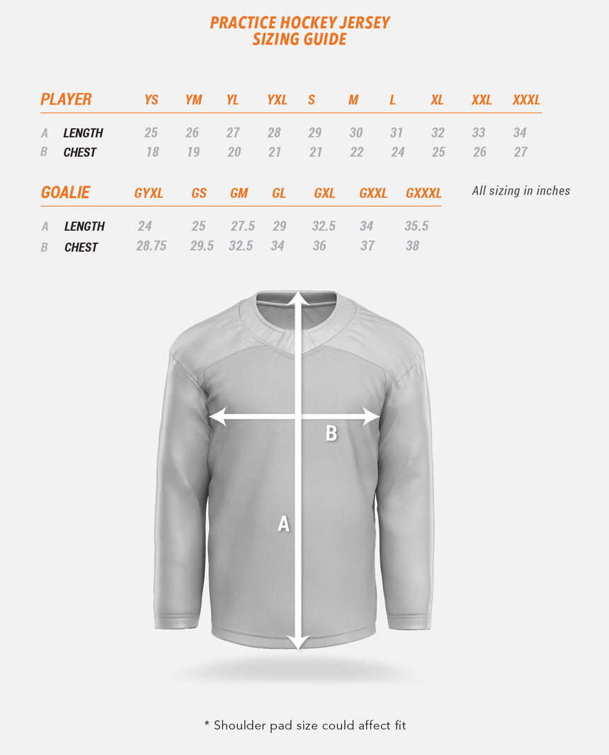 Practice Hockey Jersey Sizing Guide