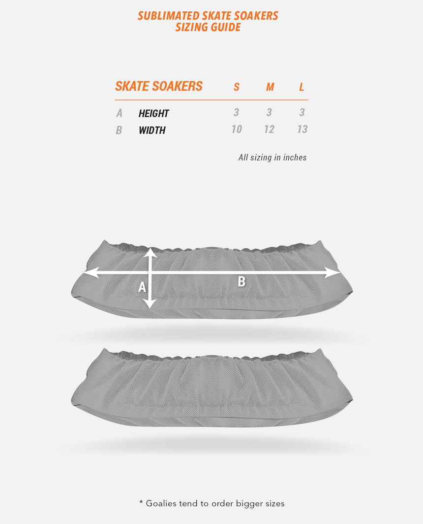Sublimated Skate Soakers Sizing Guide
