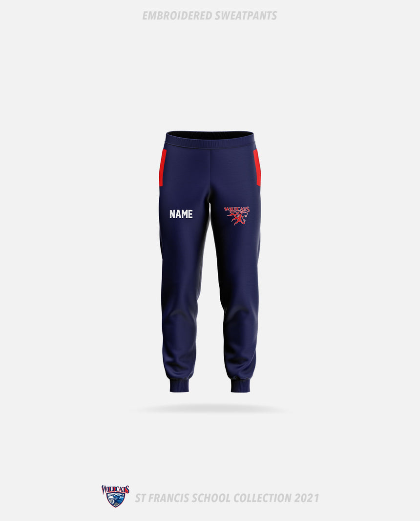 St. Francis Wildcats Embroidered Sweatpants - GSW Team Collection 2020-2021