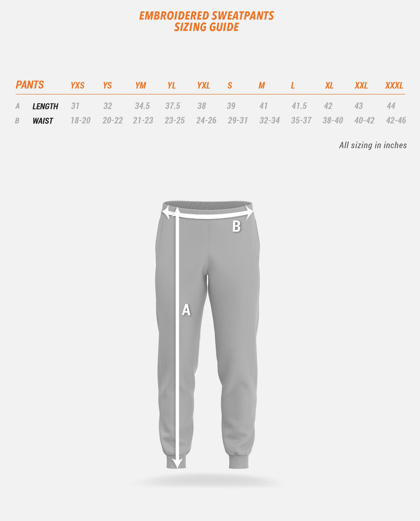Embroidered Sweatpants Sizing Guide