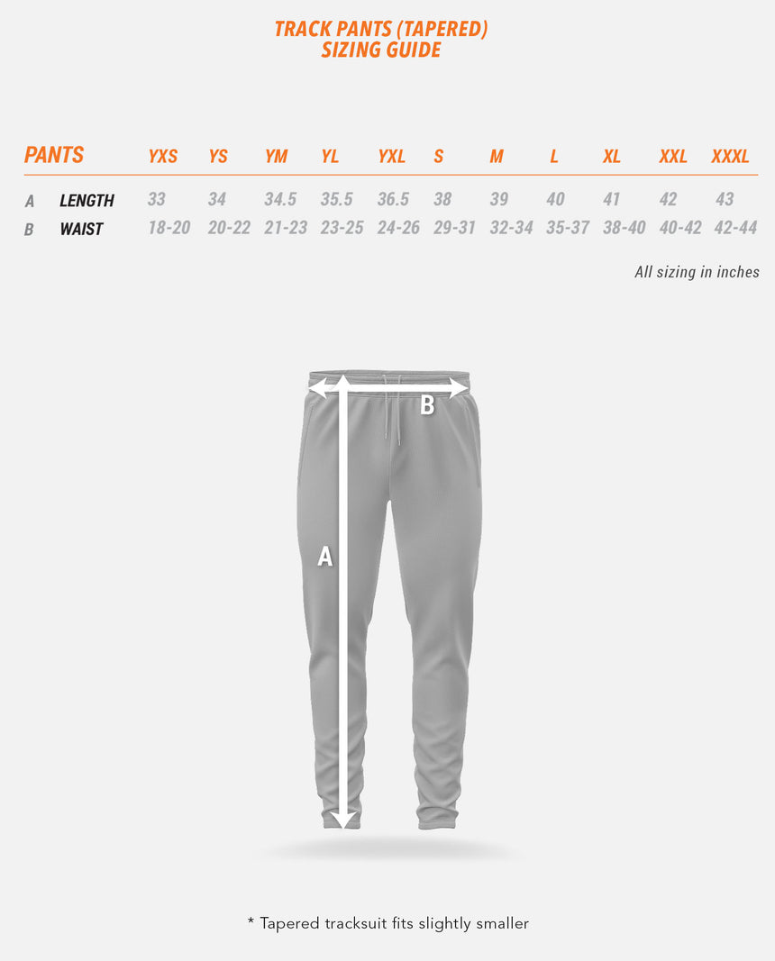 Track Pants (Tapered) Sizing Guide
