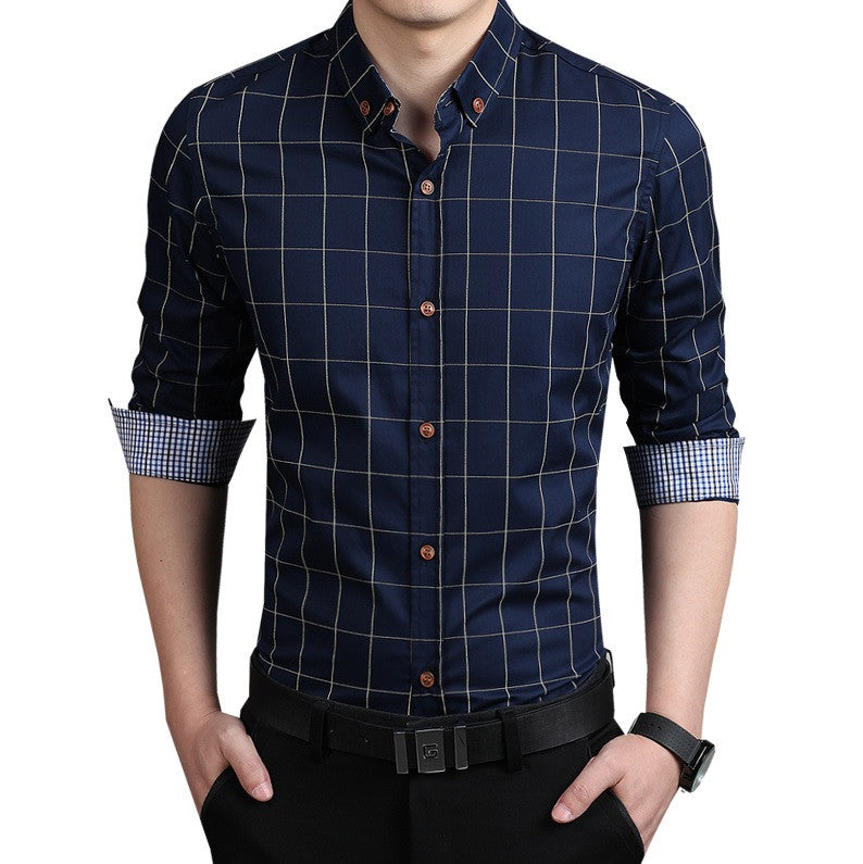 Classic Plaid Fitted Dress Shirt