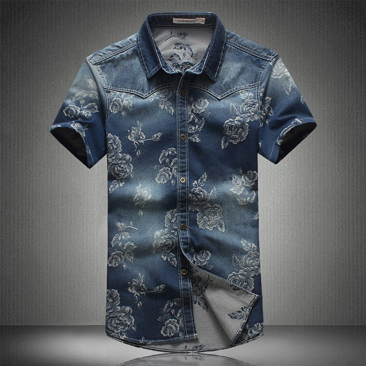 Obsidian Floral Denim Casual Shirt