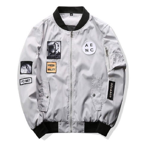 Urban Jumbled Patched Bomber Jacket